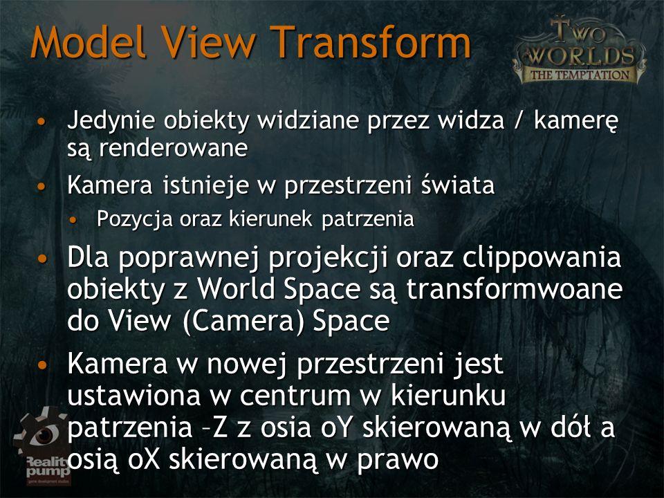 Model View Transform Jedynie obiekty widziane przez widza / kamerę są renderowane. Kamera istnieje w przestrzeni świata.