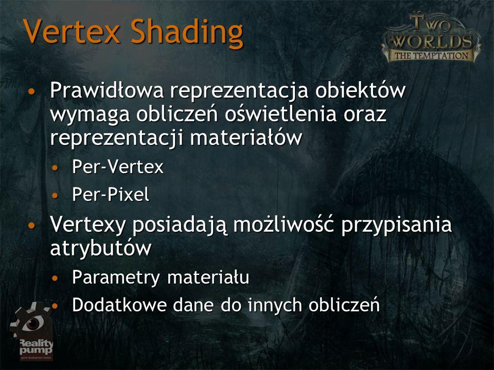 Vertex Shading Prawidłowa reprezentacja obiektów wymaga obliczeń oświetlenia oraz reprezentacji materiałów.