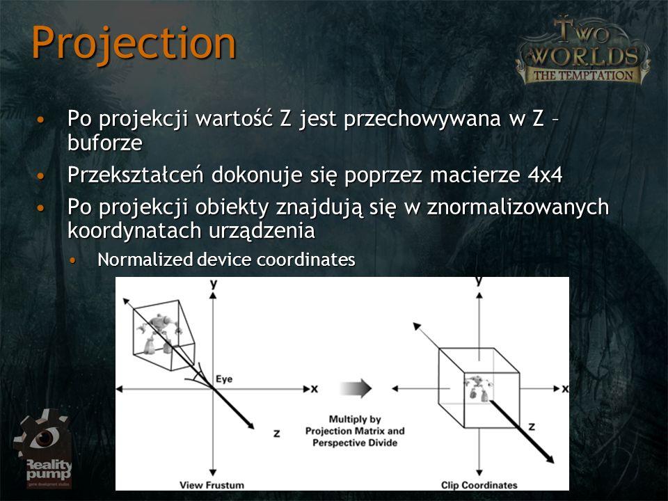 Projection Po projekcji wartość Z jest przechowywana w Z – buforze