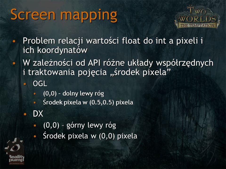 Screen mapping Problem relacji wartości float do int a pixeli i ich koordynatów.