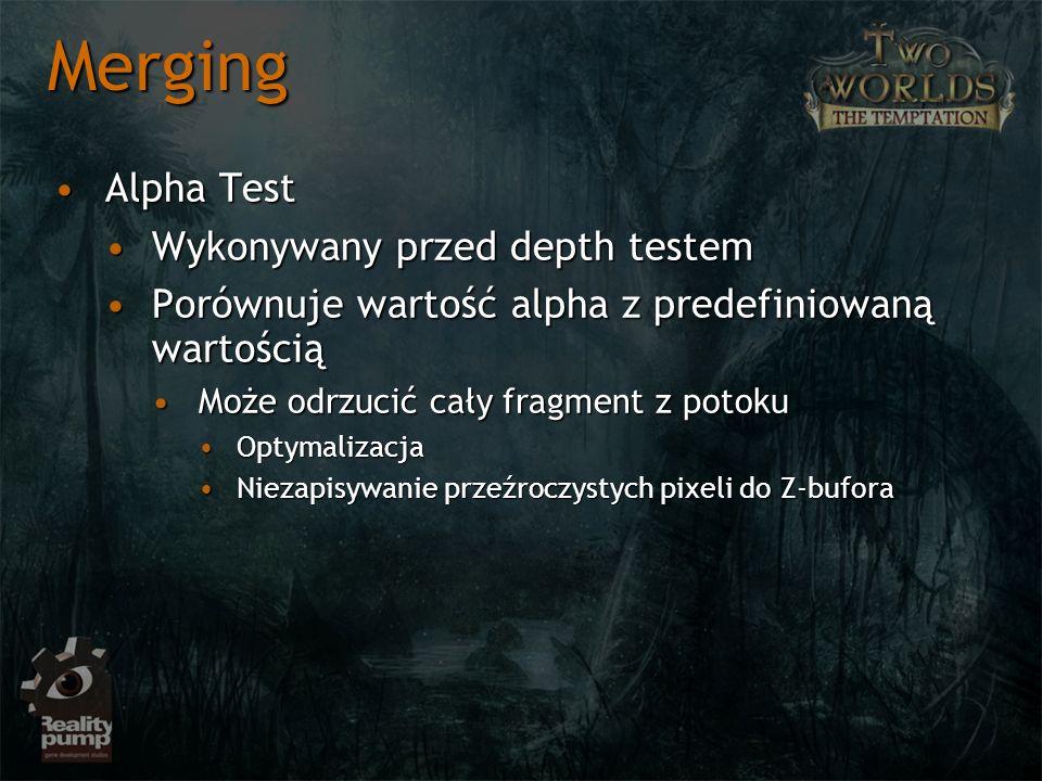 Merging Alpha Test Wykonywany przed depth testem