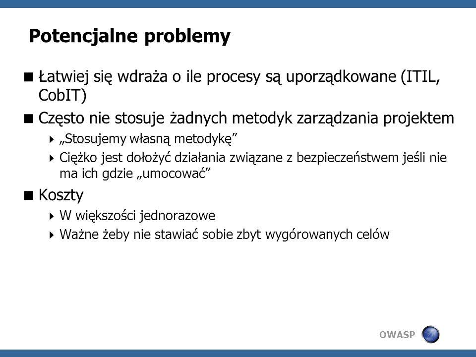 Potencjalne problemy Łatwiej się wdraża o ile procesy są uporządkowane (ITIL, CobIT) Często nie stosuje żadnych metodyk zarządzania projektem.