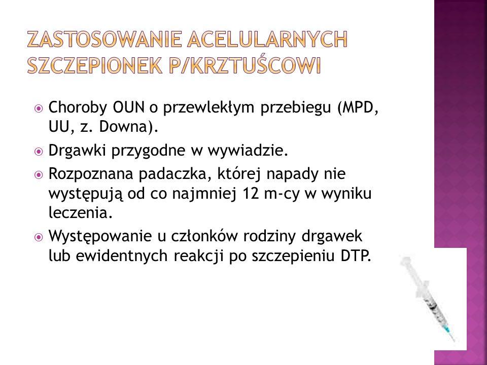 Zastosowanie acelularnych szczepionek p/krztuścowi