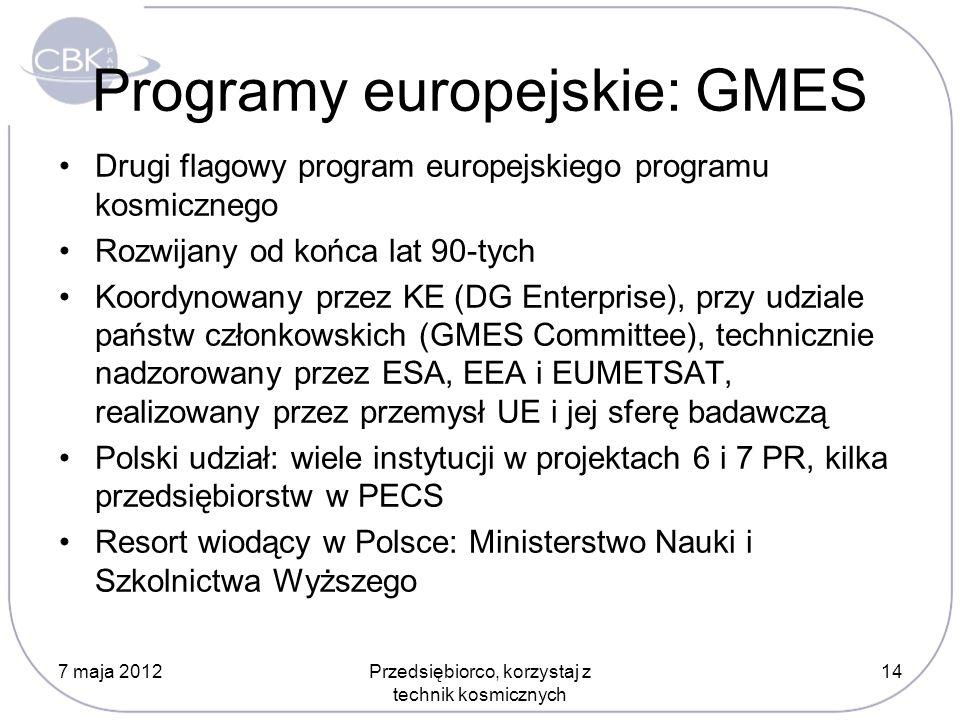 Programy europejskie: GMES