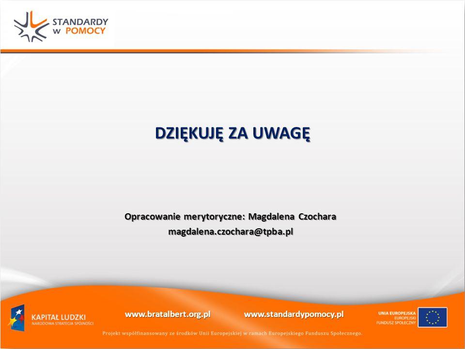 DZIĘKUJĘ ZA UWAGĘ Opracowanie merytoryczne: Magdalena Czochara
