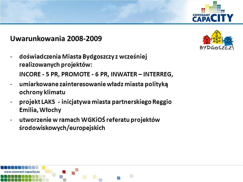 Uwarunkowania 2008-2009 doświadczenia Miasta Bydgoszczy z wcześniej realizowanych projektów: INCORE - 5 PR, PROMOTE - 6 PR, INWATER – INTERREG,