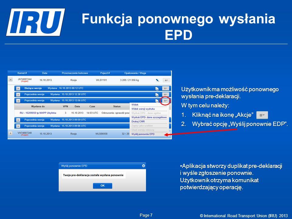 Funkcja ponownego wysłania EPD