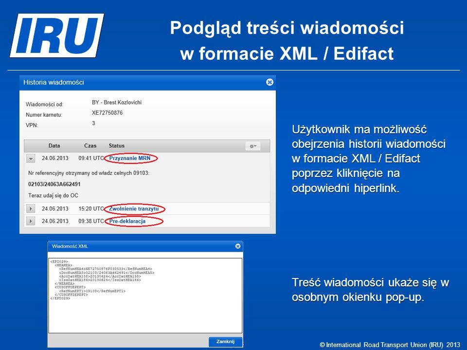 Podgląd treści wiadomości w formacie XML / Edifact