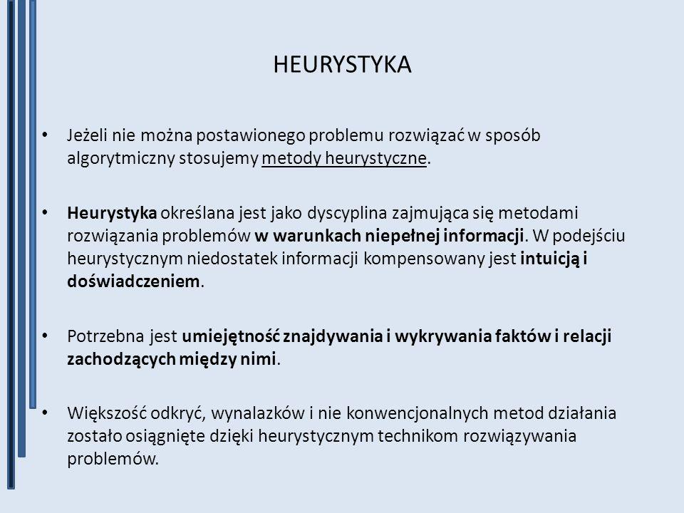 HEURYSTYKA Jeżeli nie można postawionego problemu rozwiązać w sposób algorytmiczny stosujemy metody heurystyczne.