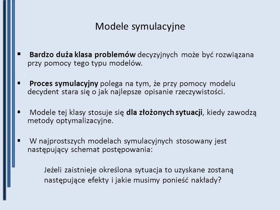 Modele symulacyjne Bardzo duża klasa problemów decyzyjnych może być rozwiązana przy pomocy tego typu modelów.