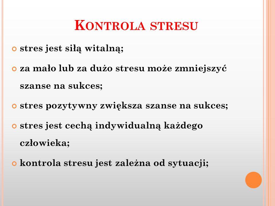 Kontrola stresu stres jest siłą witalną;