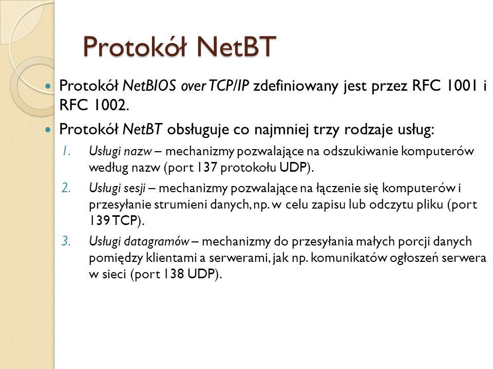 Protokół NetBT Protokół NetBIOS over TCP/IP zdefiniowany jest przez RFC 1001 i RFC 1002. Protokół NetBT obsługuje co najmniej trzy rodzaje usług: