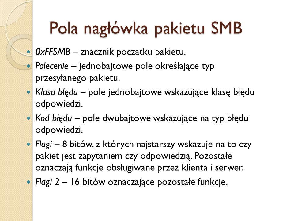 Pola nagłówka pakietu SMB