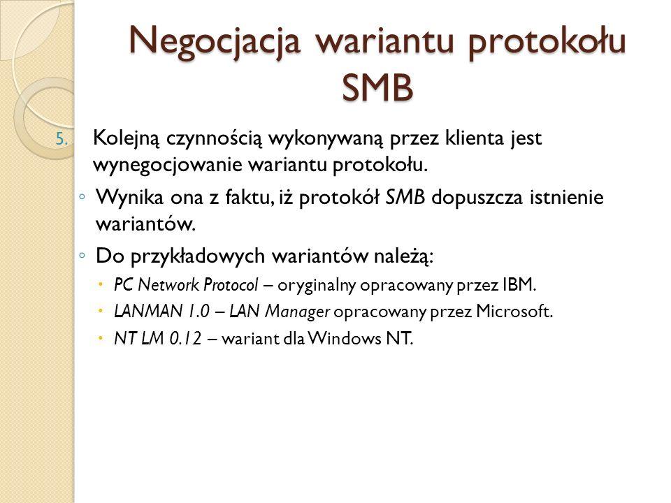 Negocjacja wariantu protokołu SMB