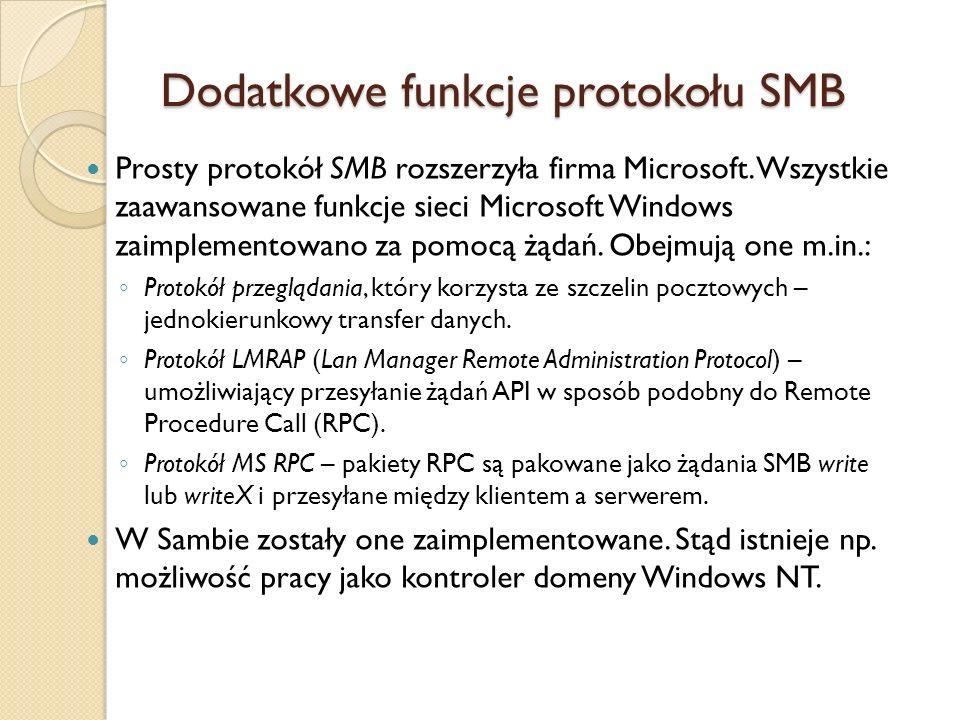 Dodatkowe funkcje protokołu SMB