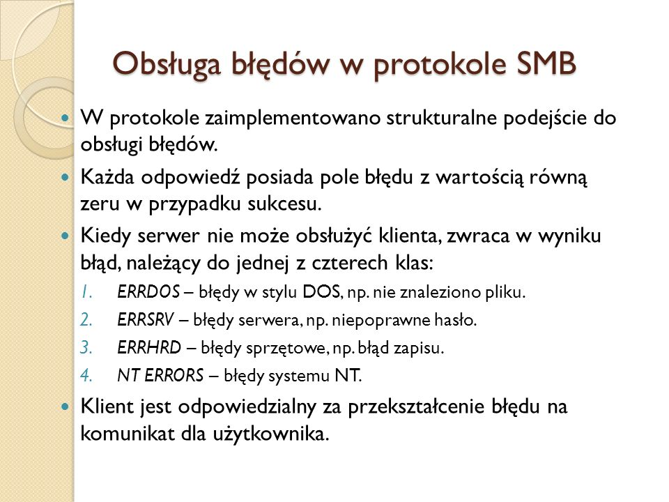 Obsługa błędów w protokole SMB