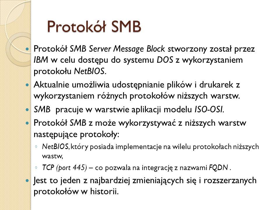 Protokół SMB Protokół SMB Server Message Block stworzony został przez IBM w celu dostępu do systemu DOS z wykorzystaniem protokołu NetBIOS.