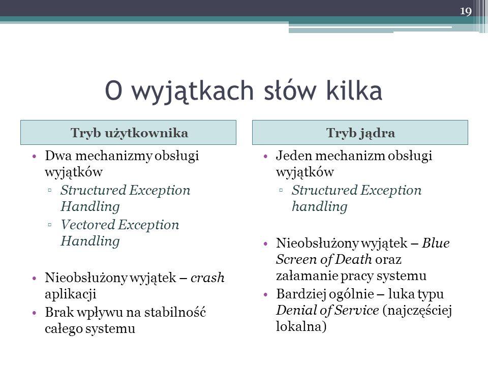 O wyjątkach słów kilka Dwa mechanizmy obsługi wyjątków