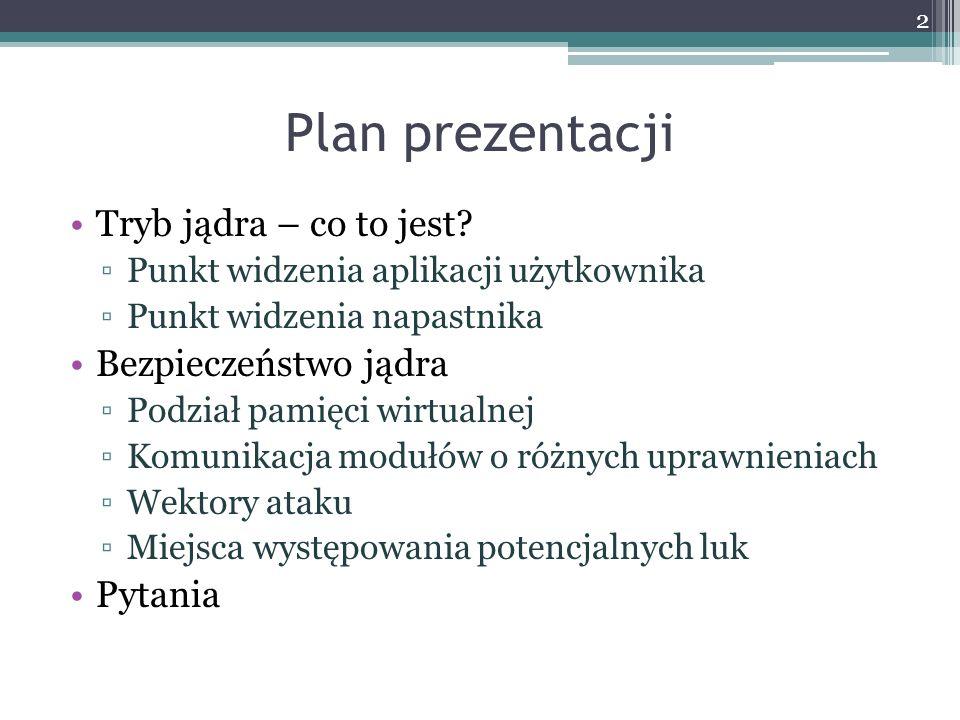 Plan prezentacji Tryb jądra – co to jest Bezpieczeństwo jądra Pytania