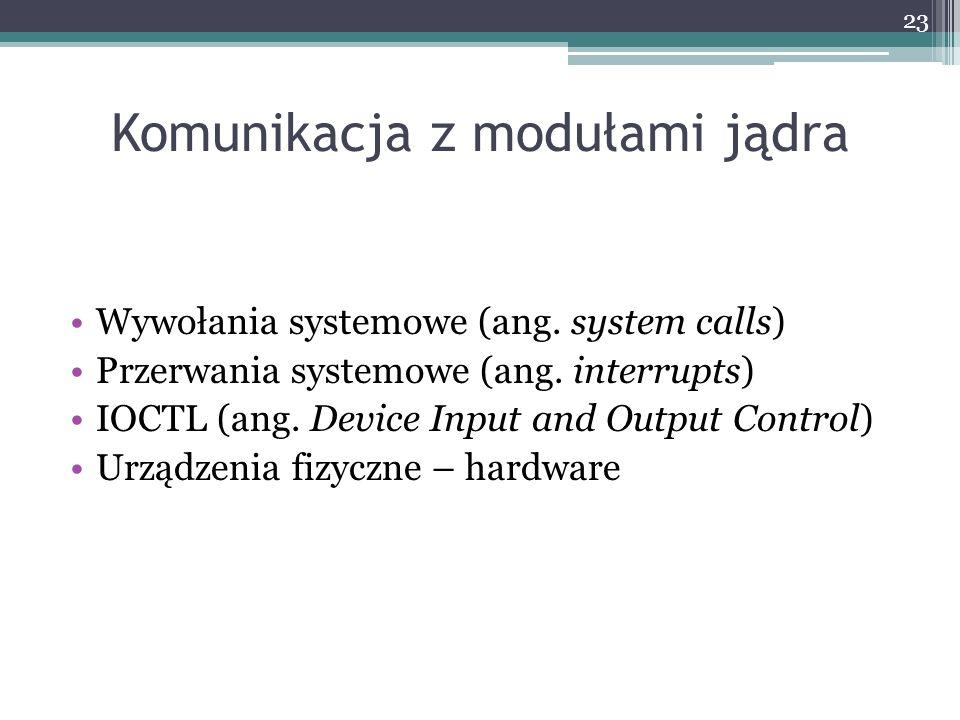 Komunikacja z modułami jądra