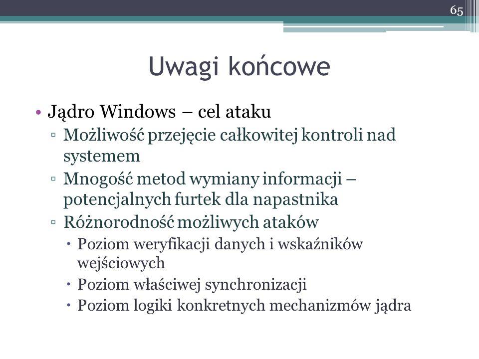 Uwagi końcowe Jądro Windows – cel ataku