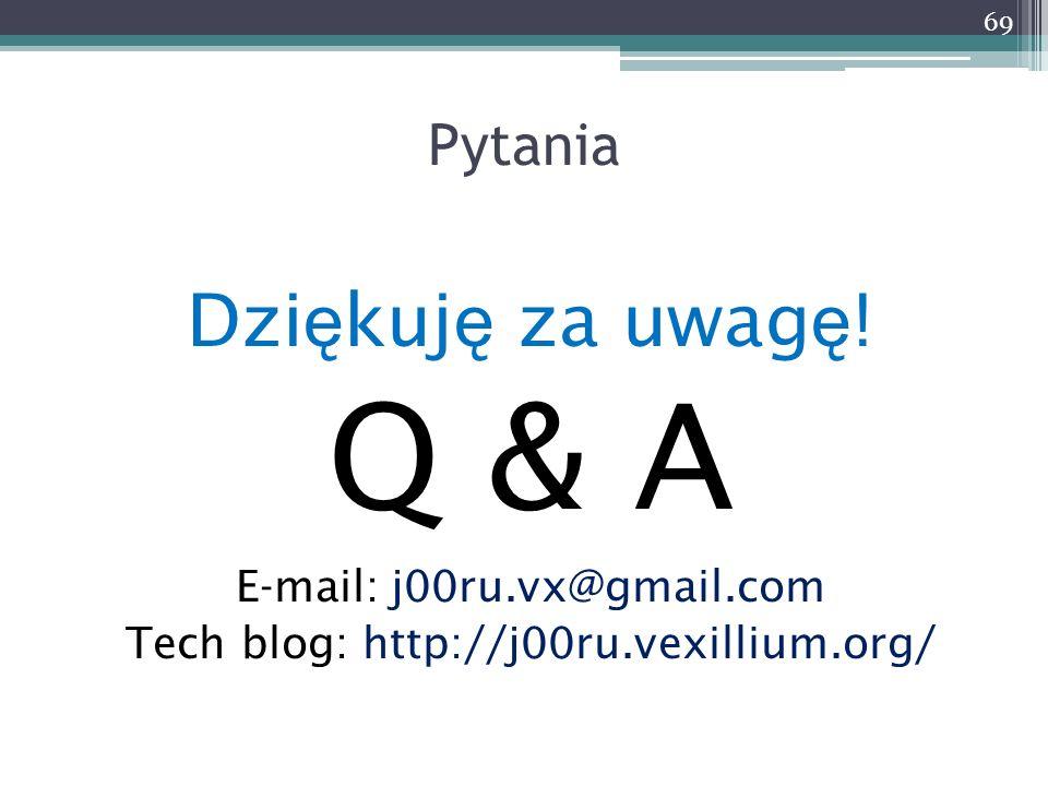 Q & A Dziękuję za uwagę! Pytania E-mail: j00ru.vx@gmail.com