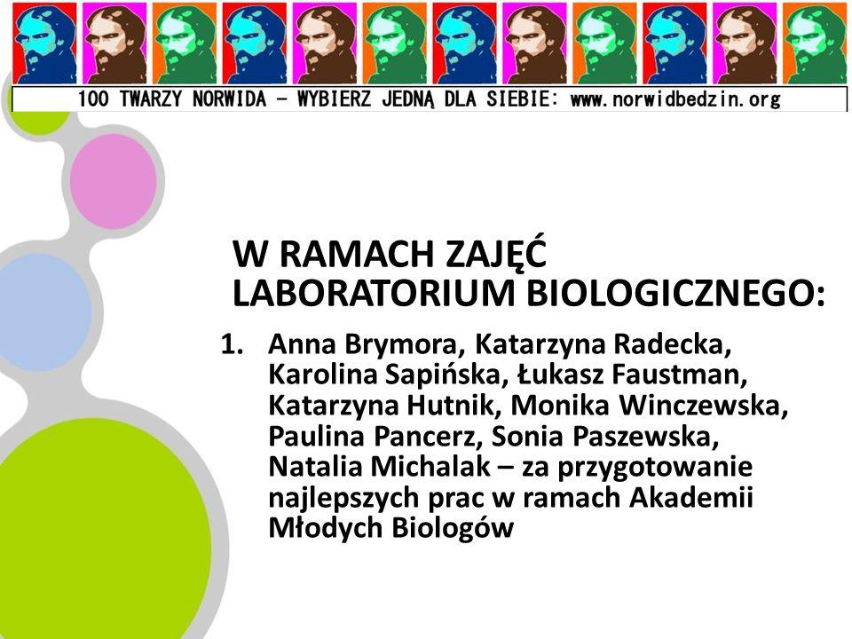 W RAMACH ZAJĘĆ LABORATORIUM BIOLOGICZNEGO: