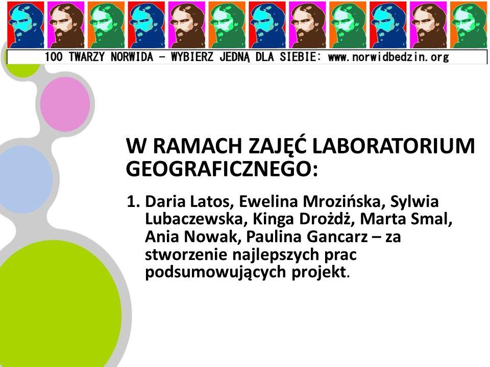 W RAMACH ZAJĘĆ LABORATORIUM GEOGRAFICZNEGO: