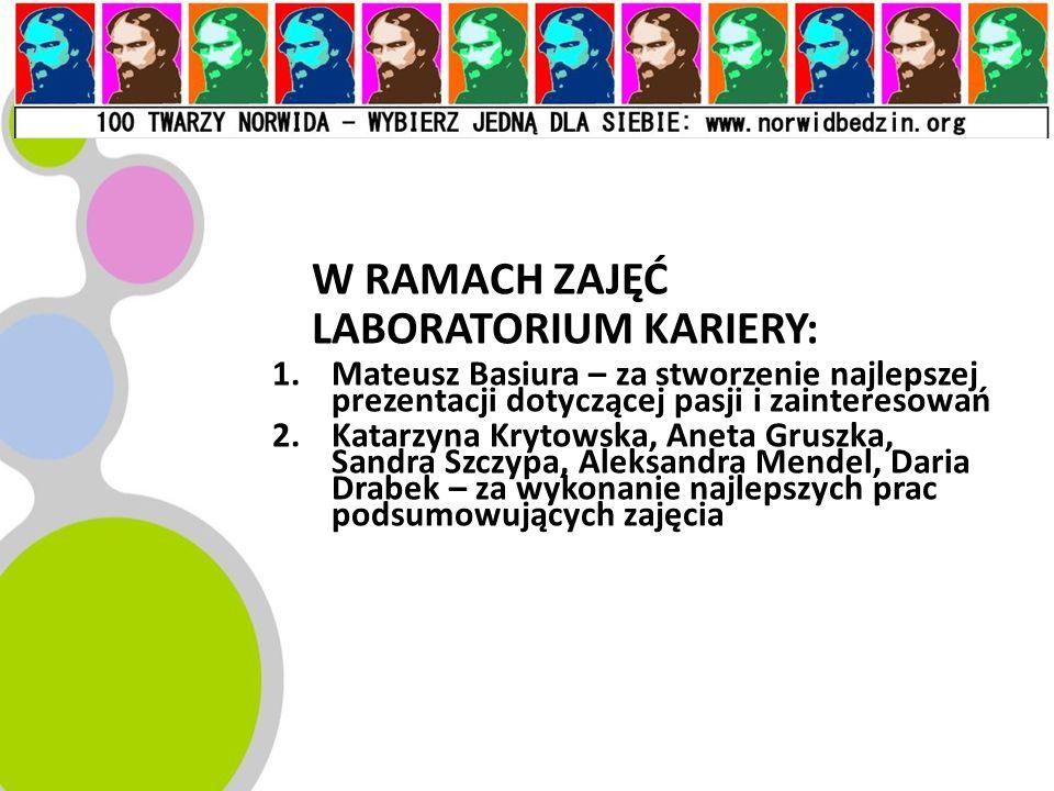 W RAMACH ZAJĘĆ LABORATORIUM KARIERY: