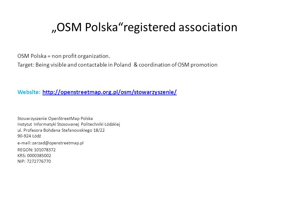 """OSM Polska registered association"