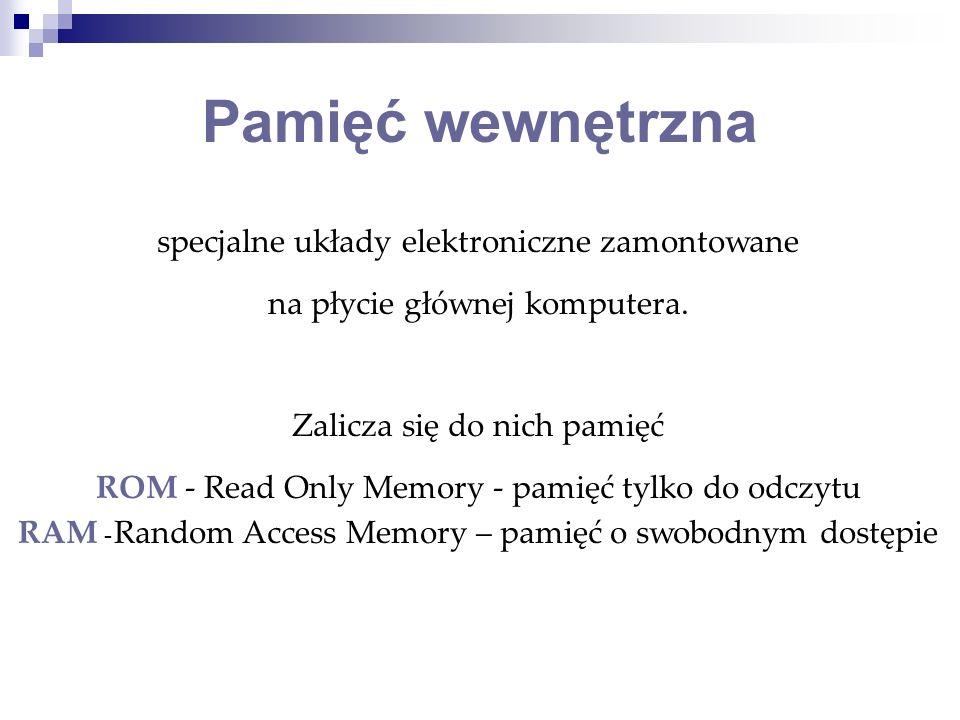 Pamięć wewnętrzna specjalne układy elektroniczne zamontowane