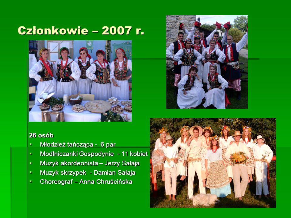 Członkowie – 2007 r. 26 osób Młodzież tańcząca - 6 par