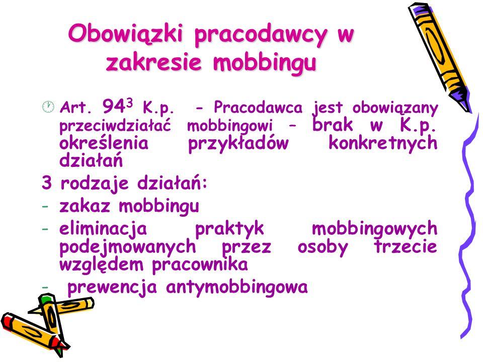 Obowiązki pracodawcy w zakresie mobbingu