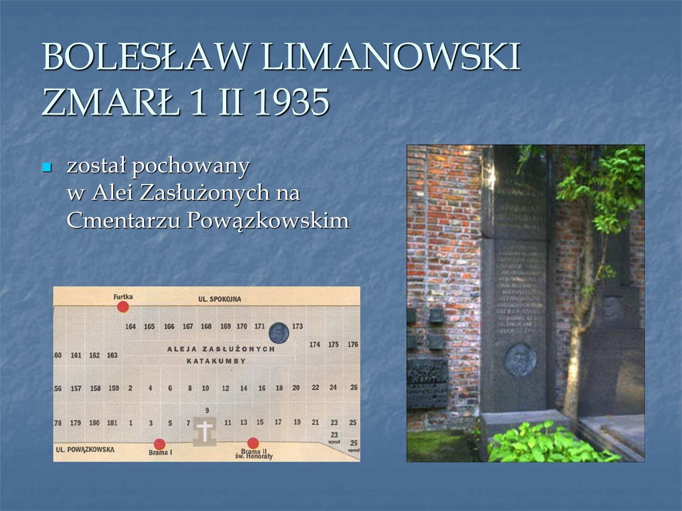 BOLESŁAW LIMANOWSKI ZMARŁ 1 II 1935