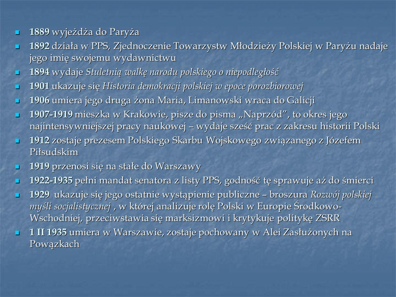 1889 wyjeżdża do Paryża 1892 działa w PPS, Zjednoczenie Towarzystw Młodzieży Polskiej w Paryżu nadaje jego imię swojemu wydawnictwu.