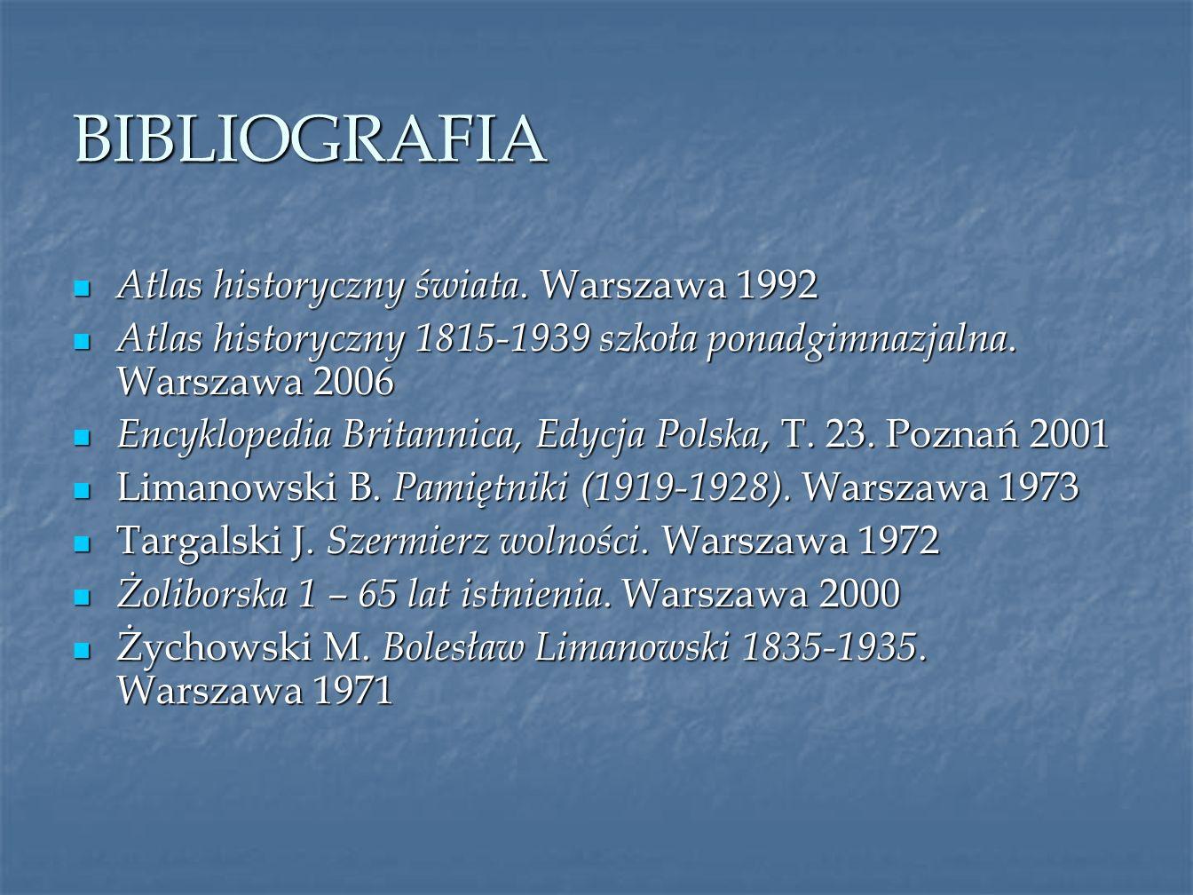 BIBLIOGRAFIA Atlas historyczny świata. Warszawa 1992