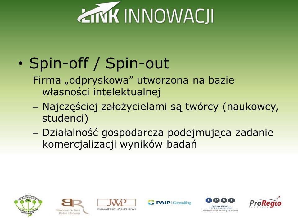 """Spin-off / Spin-out Firma """"odpryskowa utworzona na bazie własności intelektualnej. Najczęściej założycielami są twórcy (naukowcy, studenci)"""