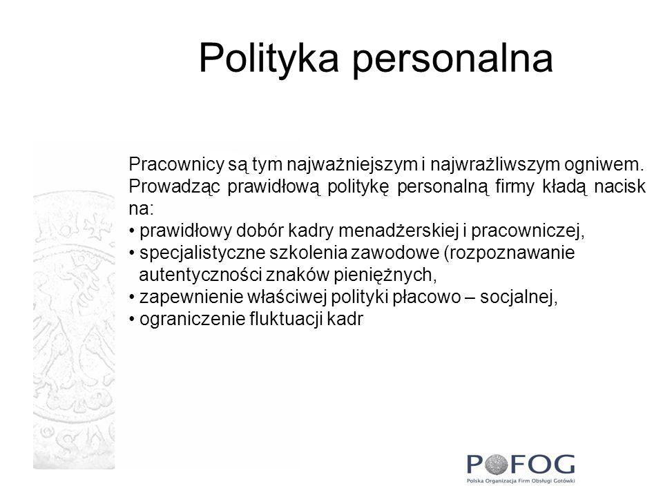 Polityka personalna Pracownicy są tym najważniejszym i najwrażliwszym ogniwem. Prowadząc prawidłową politykę personalną firmy kładą nacisk na: