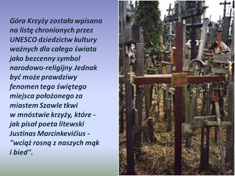 Góra Krzyży została wpisana na listę chronionych przez UNESCO dziedzictw kultury ważnych dla całego świata jako bezcenny symbol narodowo-religijny. Jednak być może prawdziwy fenomen tego świętego miejsca położonego za miastem Szawle tkwi