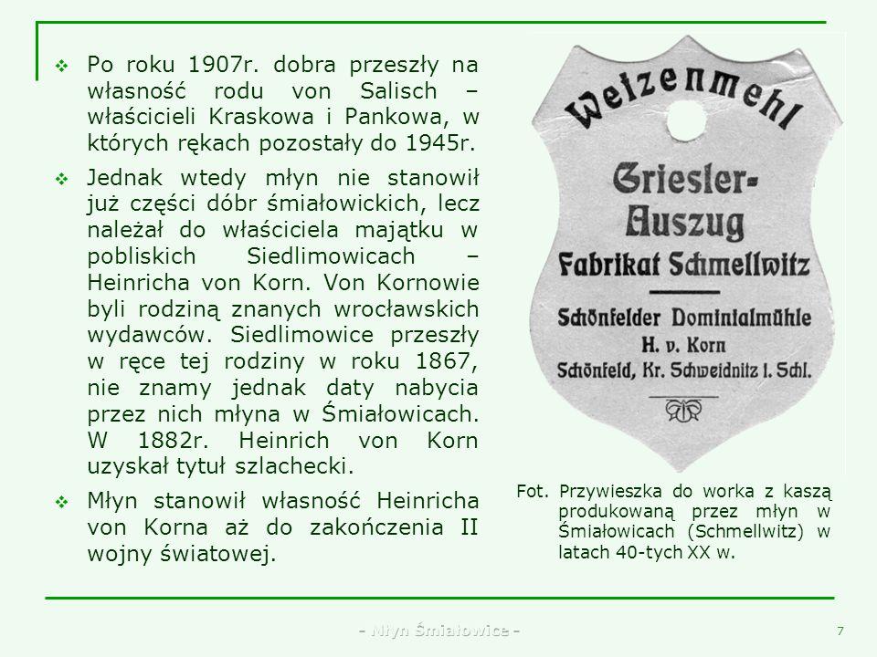 Po roku 1907r. dobra przeszły na własność rodu von Salisch – właścicieli Kraskowa i Pankowa, w których rękach pozostały do 1945r.