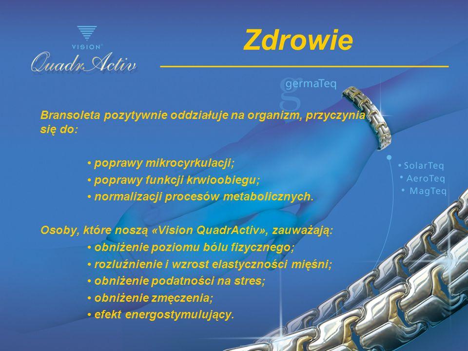 Zdrowie Bransoleta pozytywnie oddziałuje na organizm, przyczynia się do: • poprawy mikrocyrkulacji;