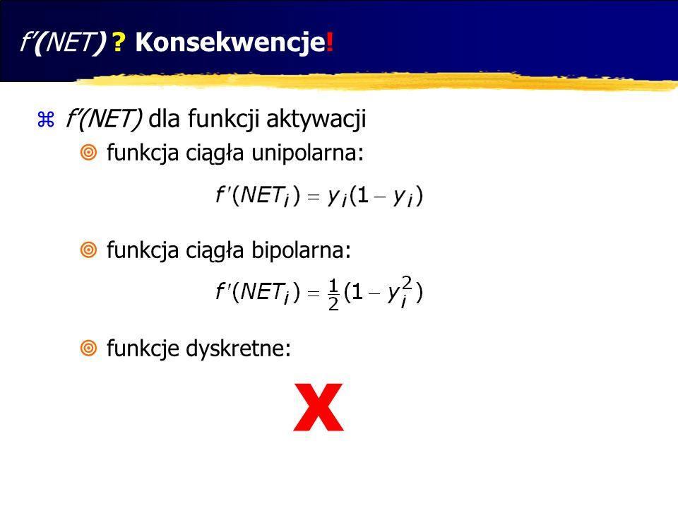X f'(NET) Konsekwencje! f'(NET) dla funkcji aktywacji