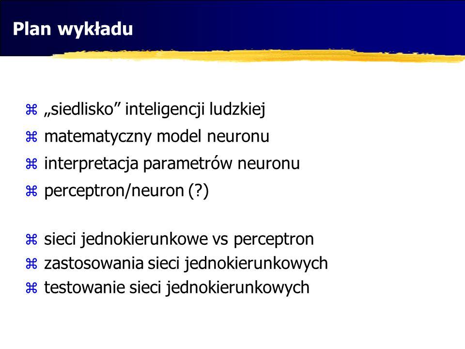 """Plan wykładu """"siedlisko inteligencji ludzkiej"""