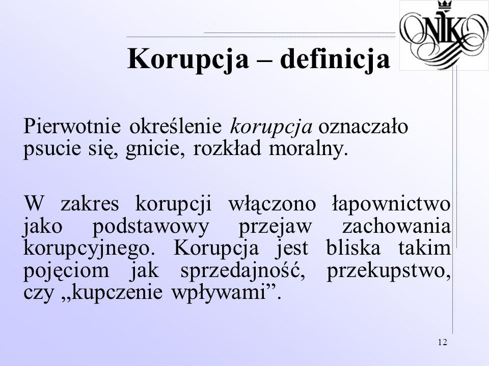 Korupcja – definicja Pierwotnie określenie korupcja oznaczało psucie się, gnicie, rozkład moralny.