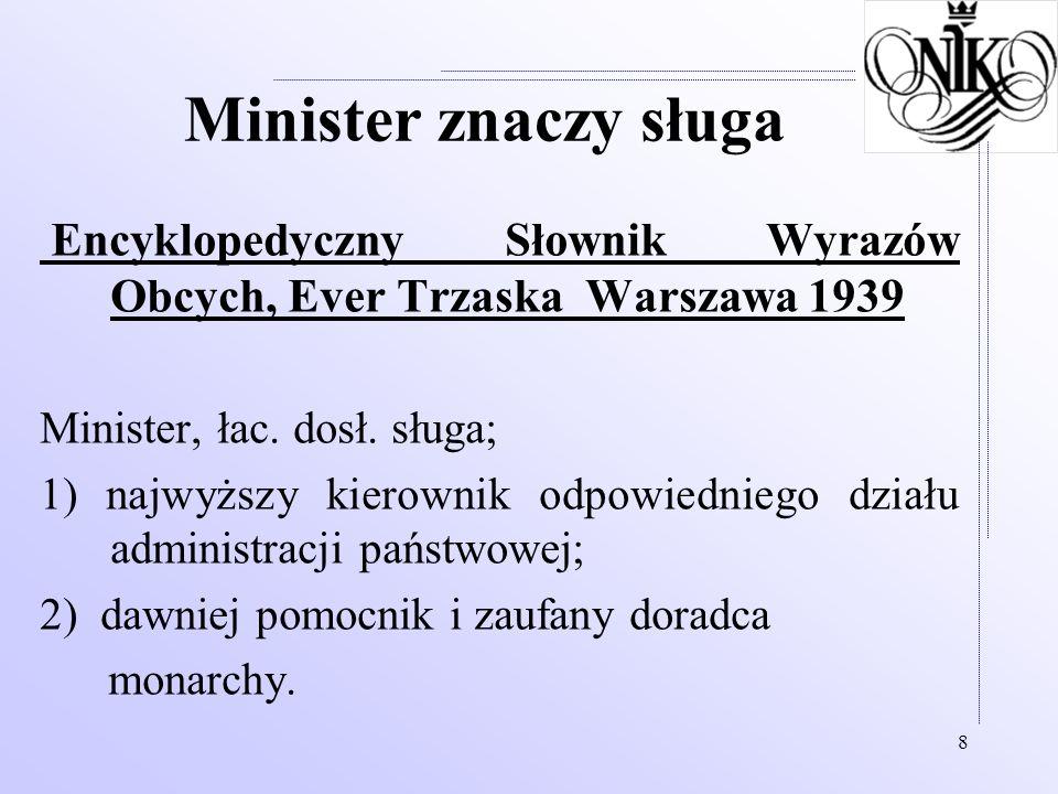 Minister znaczy sługa Encyklopedyczny Słownik Wyrazów Obcych, Ever Trzaska Warszawa 1939. Minister, łac. dosł. sługa;