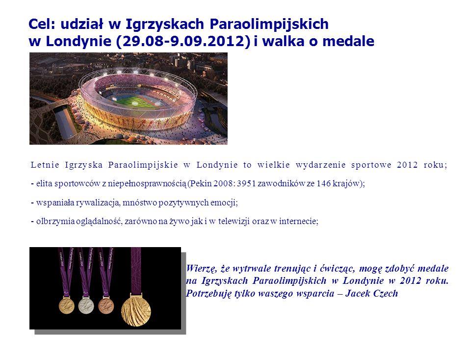 Cel: udział w Igrzyskach Paraolimpijskich w Londynie (29. 08-9. 09