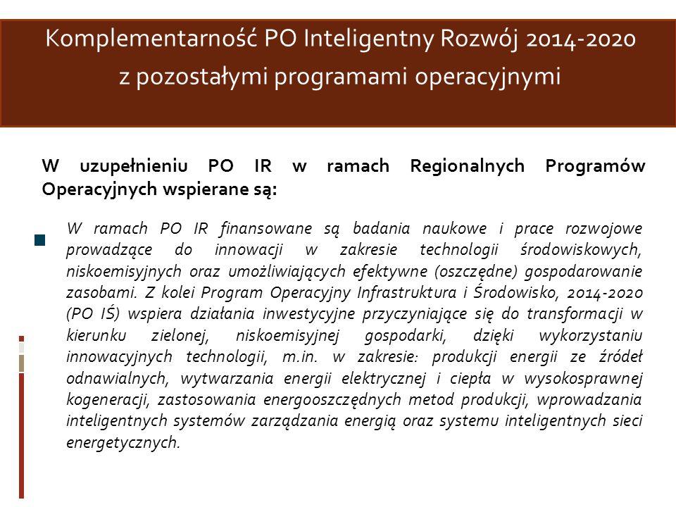 Komplementarność PO Inteligentny Rozwój 2014-2020