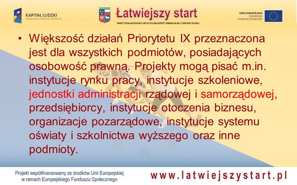 Większość działań Priorytetu IX przeznaczona jest dla wszystkich podmiotów, posiadających osobowość prawną.