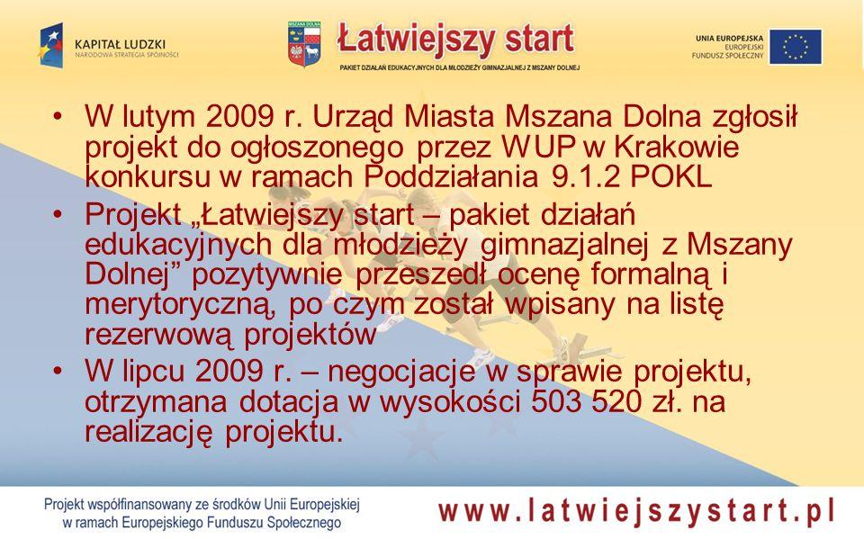 W lutym 2009 r. Urząd Miasta Mszana Dolna zgłosił projekt do ogłoszonego przez WUP w Krakowie konkursu w ramach Poddziałania 9.1.2 POKL