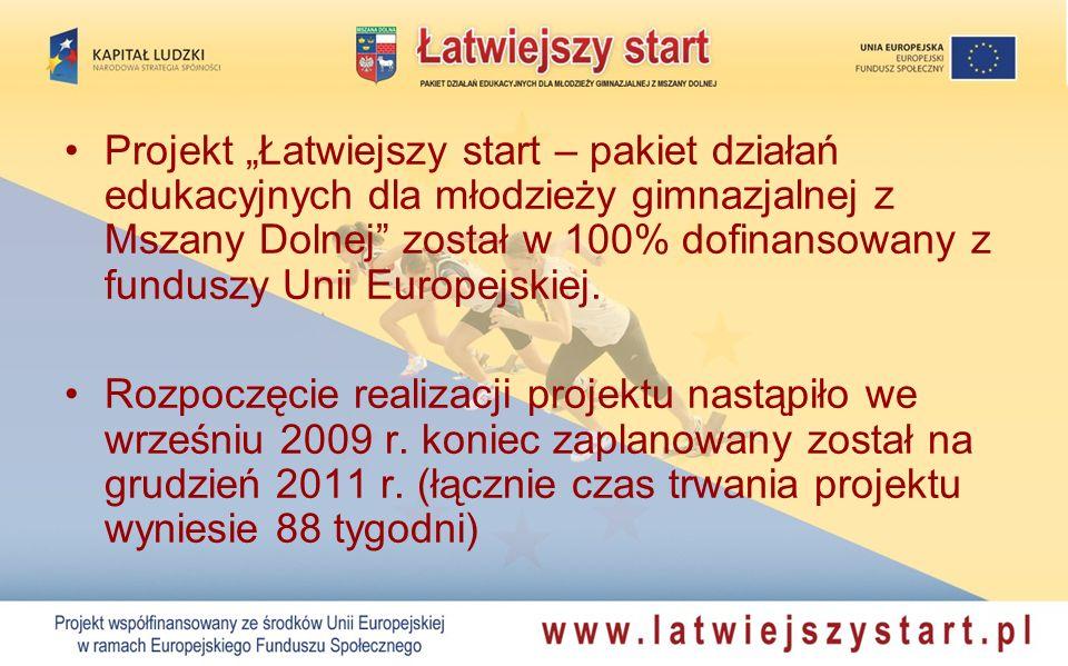 """Projekt """"Łatwiejszy start – pakiet działań edukacyjnych dla młodzieży gimnazjalnej z Mszany Dolnej został w 100% dofinansowany z funduszy Unii Europejskiej."""